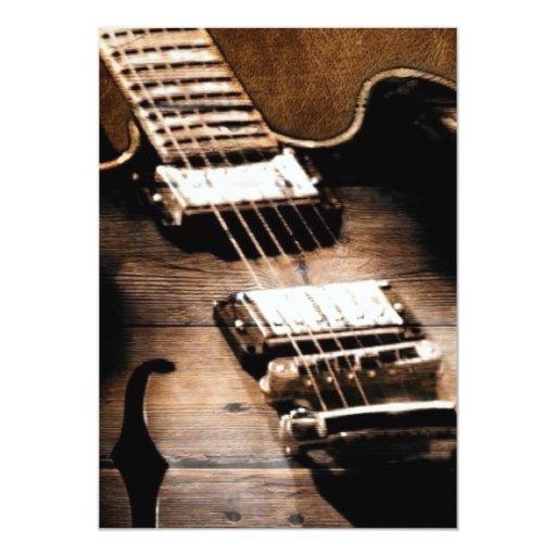 Guitarra rústica de la música country invitación