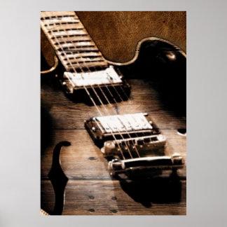 Guitarra rústica de la música country póster