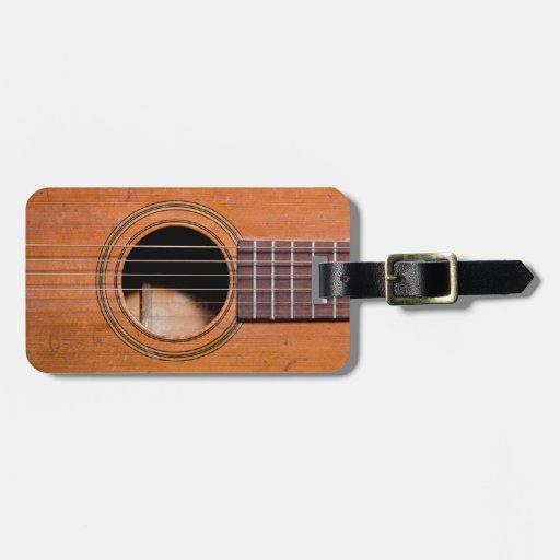 Guitarra rústica etiquetas para maletas