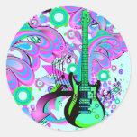 Guitarra salvaje (azul clara) pegatinas redondas