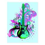 Guitarra salvaje (azul clara) tarjeta postal