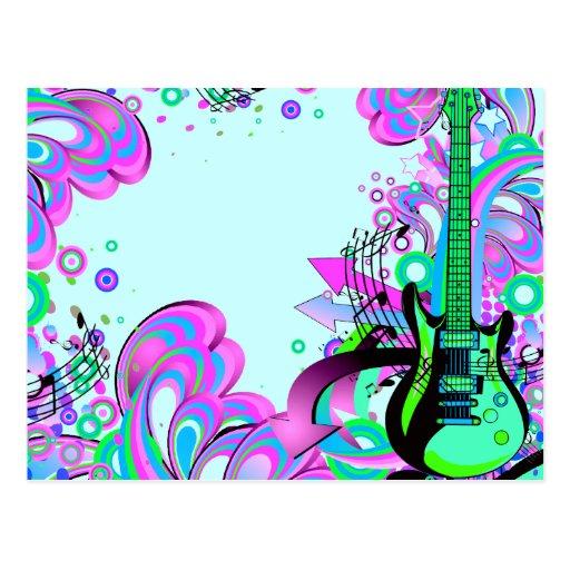 Guitarra salvaje (azul clara) tarjetas postales