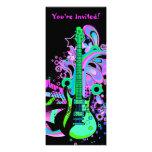 Guitarra salvaje (negro) invitacion personalizada