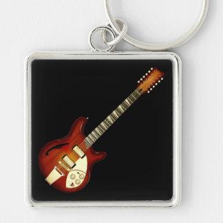 Guitarra Semi-hueco de la secuencia del resplandor Llaveros Personalizados