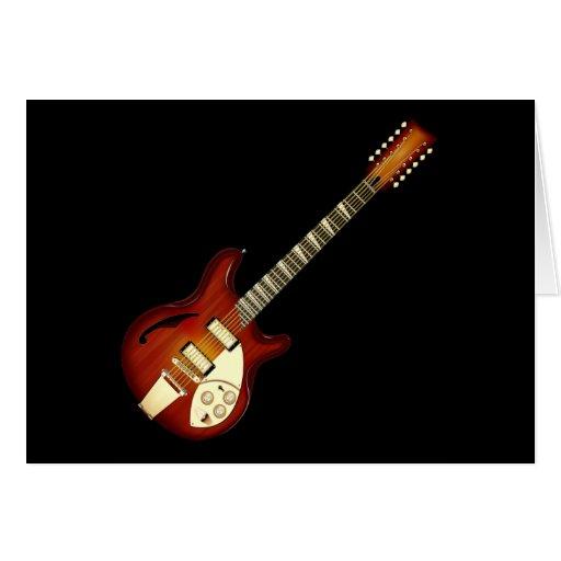 Guitarra Semi-hueco de la secuencia del resplandor Tarjeta De Felicitación