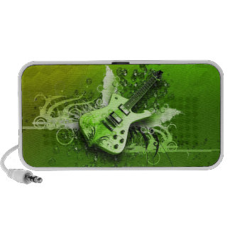 Guitarra verde altavoces de viajar