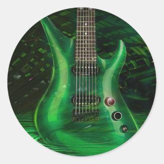 Guitarra verde pegatina