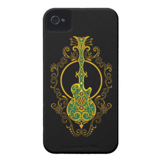 Guitarra verde y negra de oro compleja iPhone 4 carcasa