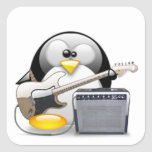 Guitarra y amplificador americanos clásicos Tux Pegatinas Cuadradas
