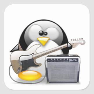 Guitarra y amplificador americanos clásicos Tux Pegatina Cuadrada
