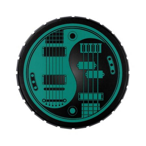Guitarra y azul bajo del trullo de Yin Yang en neg Frascos De Caramelos