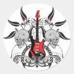 Guitarra y cráneo del Grunge Pegatinas Redondas