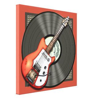 Guitarra y disco de vinilo del vintage lona estirada galerías