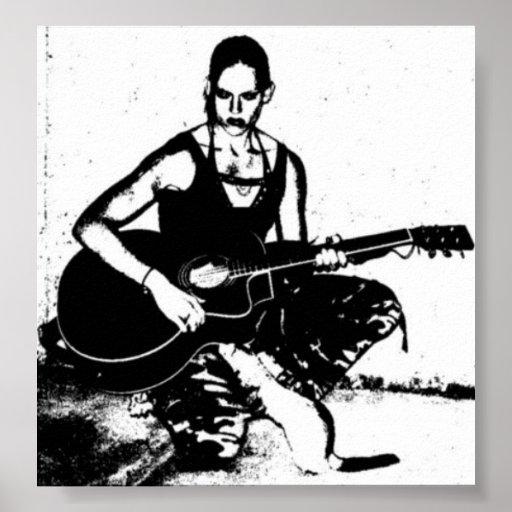 Guitarra y hurón poster