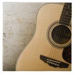 Guitarra y ladrillos azulejo cuadrado grande