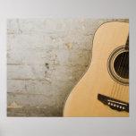 Guitarra y ladrillos póster