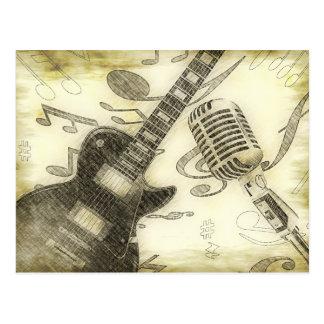 Guitarra y micrófono del vintage postales