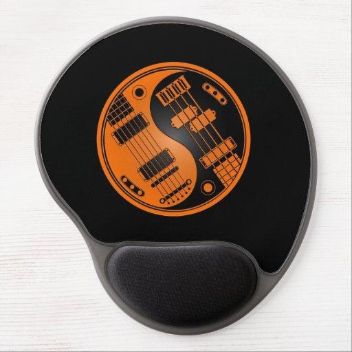 Guitarra y naranja bajo y negro de Yin Yang Alfombrillas De Raton Con Gel