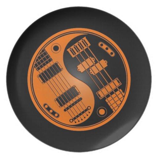 Guitarra y naranja bajo y negro de Yin Yang Plato De Cena