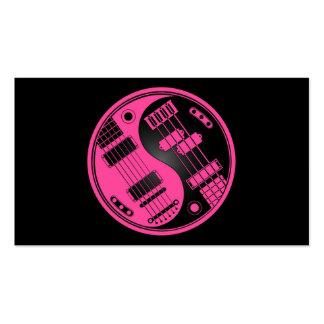 Guitarra y rosa y negro bajos de Yin Yang Tarjetas De Visita