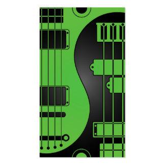 Guitarra y verde y negro bajos de Yin Yang Tarjetas De Visita