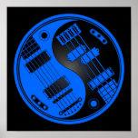 Guitarra y Yin bajo Yang azul y negro Impresiones