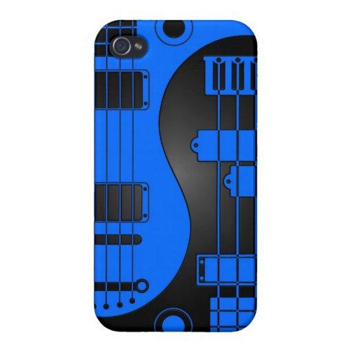 Guitarra y Yin bajo Yang azul y negro iPhone 4/4S Carcasa