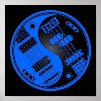 Guitarra y Yin bajo Yang azul y negro Póster