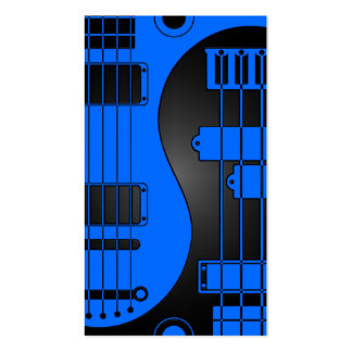 Guitarra y Yin bajo Yang azul y negro Plantilla De Tarjeta De Negocio