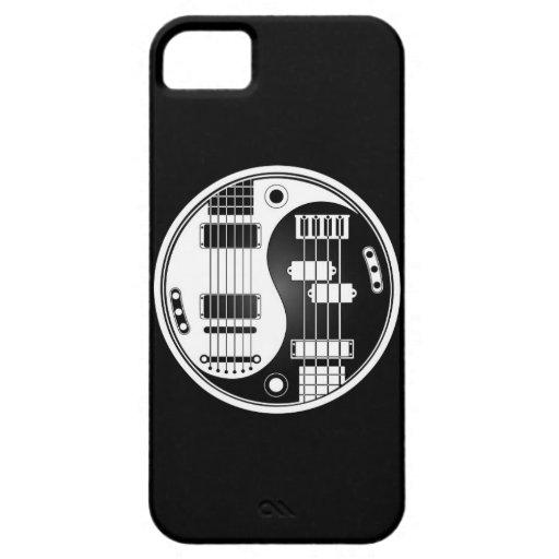 Guitarra y Yin bajo Yang blanco y negro iPhone 5 Cárcasa