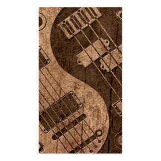 Guitarra y Yin bajo Yang con el efecto de madera d Tarjetas De Visita