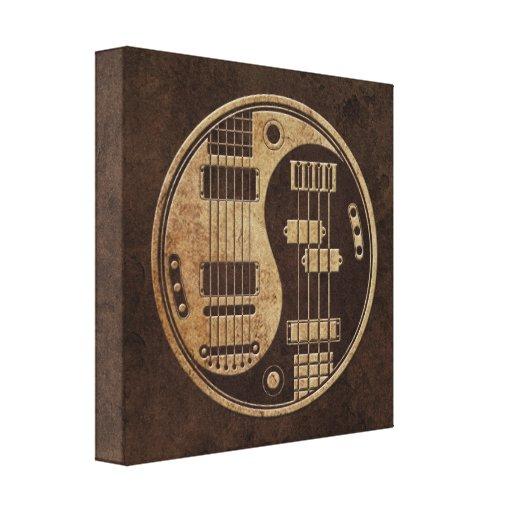 Guitarra y Yin bajo Yang con la textura de Brown Lona Envuelta Para Galerías