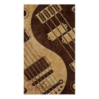 Guitarra y Yin bajo Yang con la textura de Brown Tarjetas De Visita