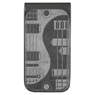 Guitarra y Yin bajo Yang con textura oscura Clip Para Billetes Metalizado