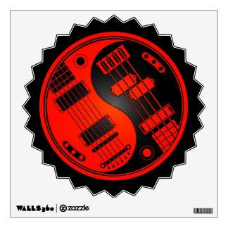 Guitarra y Yin bajo Yang rojo y negro