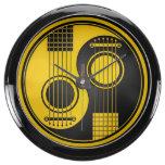 Guitarras acústicas amarillas y negras Yin Yang Reloj Aquavista