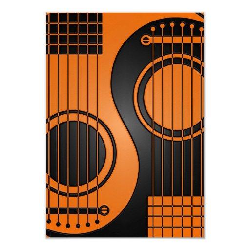 Guitarras acústicas anaranjadas y negras Yin Yang Anuncio Personalizado