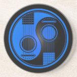 Guitarras acústicas azules y negras Yin Yang Posavasos Diseño