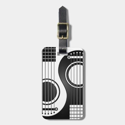 Guitarras acústicas blancas y negras Yin Yang Etiqueta Para Maleta