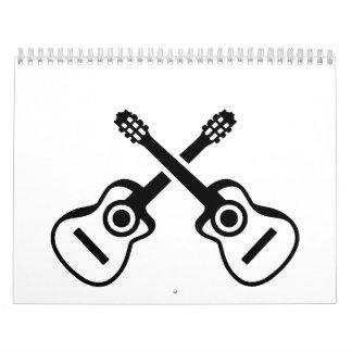 Guitarras acústicas cruzadas calendarios de pared