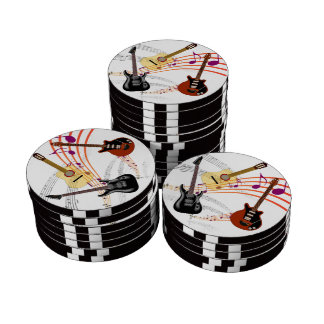 Guitarras acústicas eléctricas y y nota del fichas de póquer