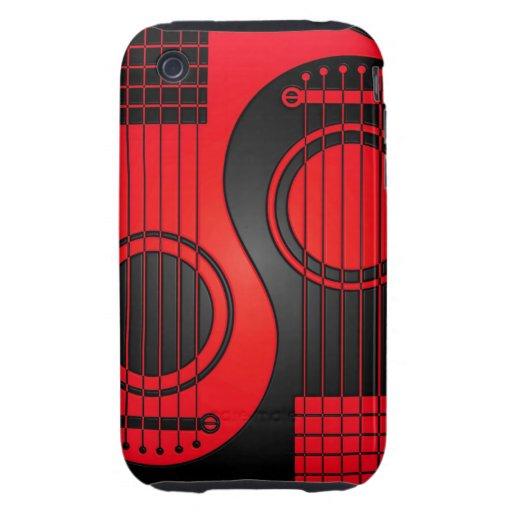 Guitarras acústicas rojas y negras Yin Yang Tough iPhone 3 Cárcasa