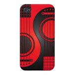 Guitarras acústicas rojas y negras Yin Yang iPhone 4/4S Fundas