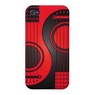 Guitarras acústicas rojas y negras Yin Yang iPhone 4 Fundas