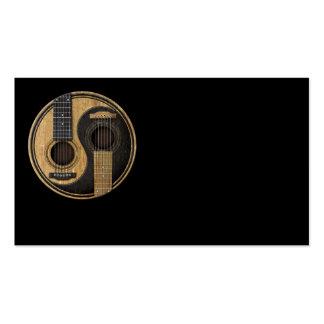 Guitarras acústicas viejas y gastadas Yin Yang Tarjetas De Visita