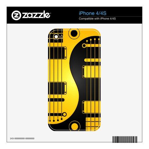 Guitarras amarillas y negras de Yin Yang iPhone 4S Skin