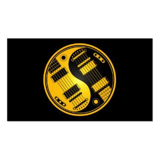 Guitarras amarillas y negras de Yin Yang Tarjetas De Visita