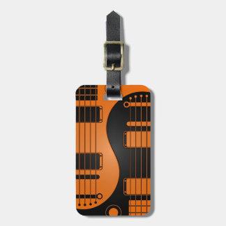 Guitarras anaranjadas y negras de Yin Yang Etiquetas De Maletas