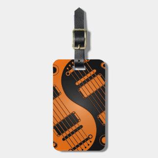 Guitarras anaranjadas y negras de Yin Yang Etiqueta De Maleta
