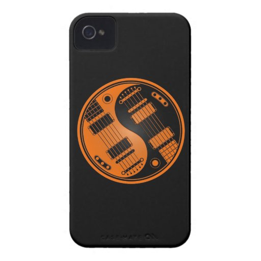 Guitarras anaranjadas y negras de Yin Yang iPhone 4 Cobertura